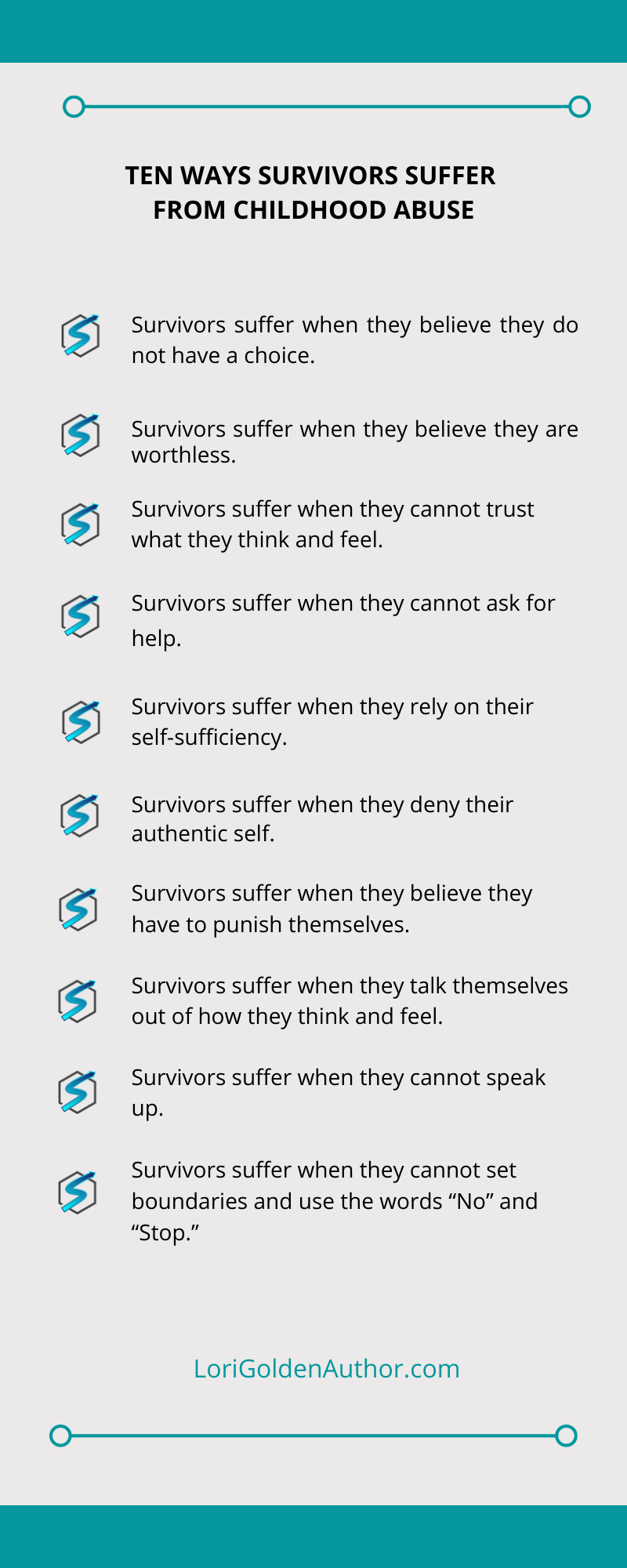 10 Ways Survivors Suffer from Childhood Abuse Lori Golden